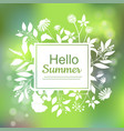 hello summer green card design vector image vector image