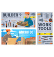 house construction workers and tools banner vector image vector image