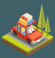 isometric car trip family adult road concept flat vector image vector image