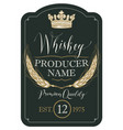 label for whiskey with ears of barley and crown vector image vector image