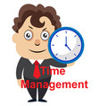 man holding clock on white background vector image vector image