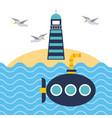 nautical lighthouse ocean and submarine beach vector image vector image