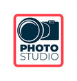 photo studio logotype with camera and frame icon vector image vector image
