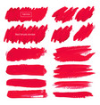 red brush stroke isolated on white background vector image vector image