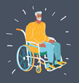 senior man sitting on wheelchair alone vector image