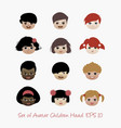 set avatar children head vector image