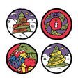 set of christmas and new year round emblems vector image