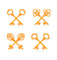 set of crossed old vintage golden keys vector image