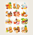 set of food icons arranged in categories vector image vector image