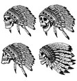 set of the skulls in native american headdress vector image