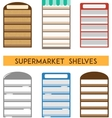 set supermarket shelves minimal flat vector image