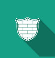 shield with cyber security brick wall icon vector image vector image