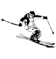 silhouette man jumps on ski black and white grunge vector image vector image