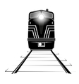 silhouette of a diesel locomotive moving along the vector image vector image
