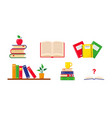 stacks books shelf and school notebooks vector image vector image
