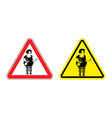 Warning sign prostitute attention Dangers yellow vector image vector image