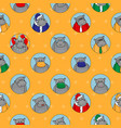 yellow seamless pattern different hippos happy vector image vector image