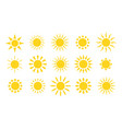 yellow sun icons suns rays flat sunny weather vector image vector image