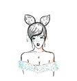young woman bunny ears and lace vector image vector image