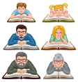 Family reading book Set people reading book vector image