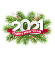 2020 numbers on christmas tree branches vector image vector image
