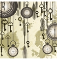 Antique background with grungy map and clocks vector image vector image