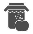 apple juice solid icon jar of apple juice vector image vector image