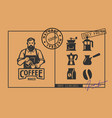 barista logo with coffee icons in vintage style vector image