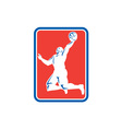 Basketball Player Rebounding Lay-Up Ball Rectangle vector image vector image