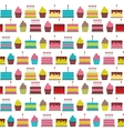Birthday Cake Flat Seamless Pattern Background vector image vector image