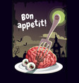 bon appetit scary halloween poster with creepy vector image