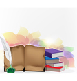 Books and feather on floral background vector image vector image