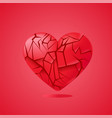 broken heart sealed isolated red glass shards vector image vector image
