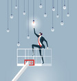 businessman lifting by crane to reach light bulbs vector image vector image
