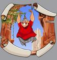 cartoon joyful man in a jump on the background of vector image vector image