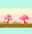 cartoon spring japan landscape as game background vector image