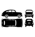 classic car black icons vector image