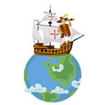 columbus day poster with columb sailing on ship vector image vector image