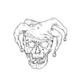 court jester skull drawing vector image vector image