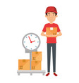delivery worker with boxes and scale vector image vector image