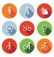 Disability flat Icons Set vector image