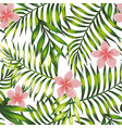 exotic wallpaper tropical leaves and flowers vector image vector image
