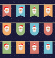 flags with the face of santa on a rope christmas vector image