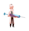 flat grey-haired doctor holding syringe vector image vector image