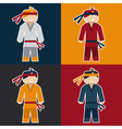 flat sticker of karate man vector image vector image