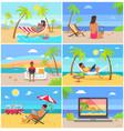 freelancers in swimwear work in summer at beach vector image
