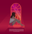 girl looking out through window during sunset vector image
