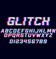 glitch alphabet font with distortion effect vector image