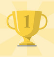 gold trophy winner cup with 1 symbol on the vector image vector image