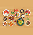 halal food set on top view wooden table background vector image